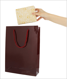 紙袋【中】W225×H320×D80mm 色:紺、エンジ、白